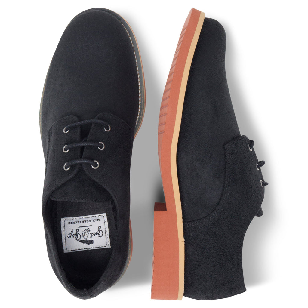 pair of Black Lace-up Vegan Shoes Aponi from above by Good Guys at ALIVE Boutique