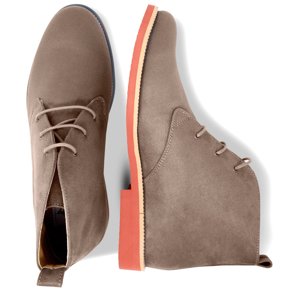 pair of Vegan Desert Boots Ayita Beige from the above by GoodGuys at ALIVE Boutique