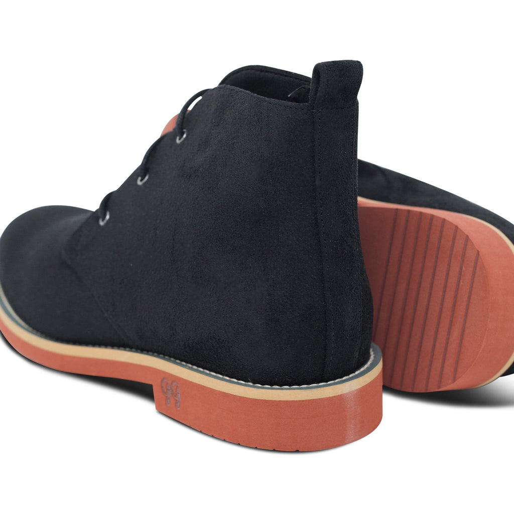 pair of Vegan Desert Boots Ayita Black and its sole by GoodGuys at ALIVE Boutique