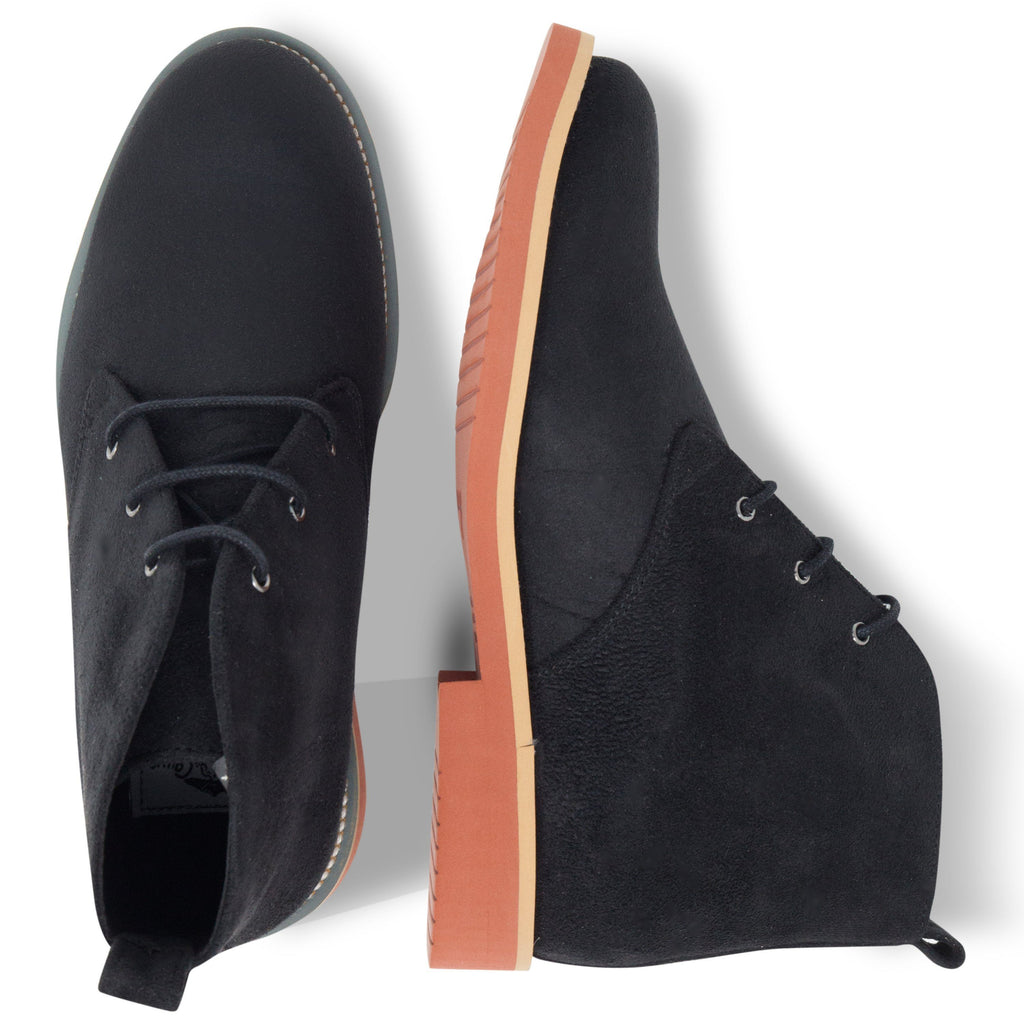 pair of Vegan Desert Boots Ayita Black from above by GoodGuys at ALIVE Boutique