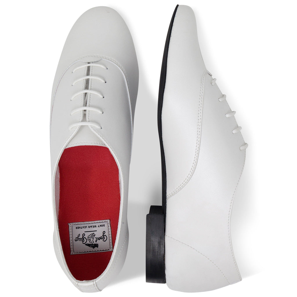 pair of Vegan Shoes Mens Bee from above in White by Good Guys at ALIVE Boutique