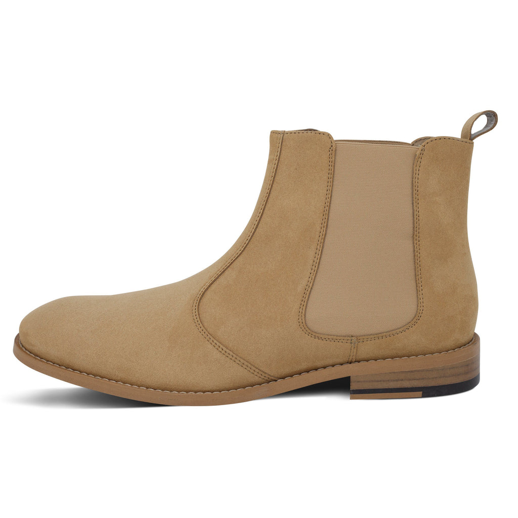 vegan Chelsea Boots for men beige from the left by FAIR at ALIVE Boutique