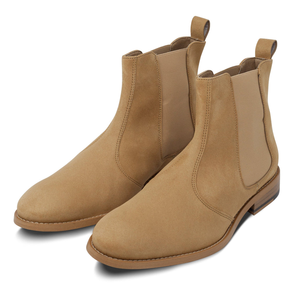 pair of vegan Chelsea Boots for men beige by FAIR at ALIVE Boutique