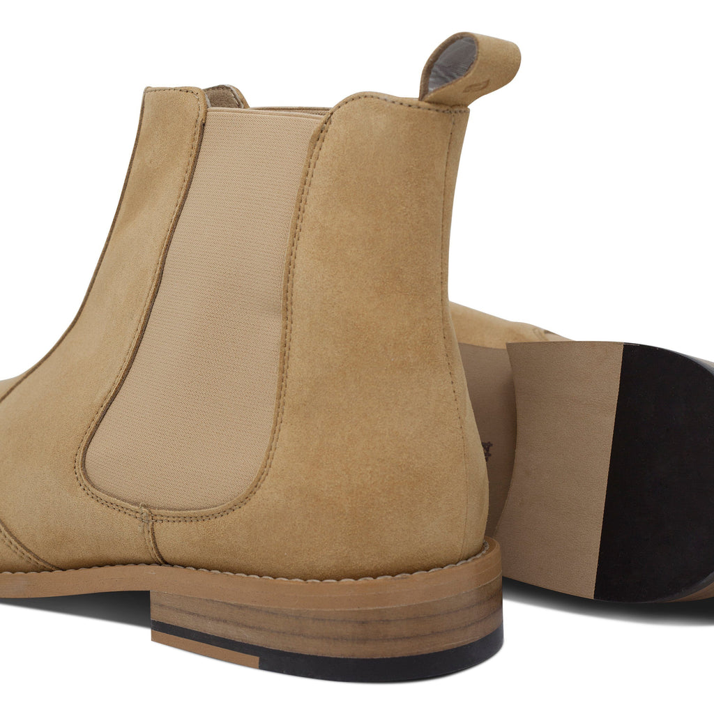pair of vegan Chelsea Boots and their sole for men beige by FAIR at ALIVE Boutique