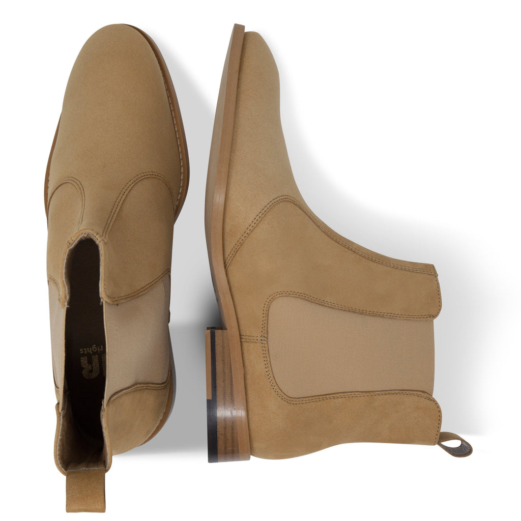 pair of vegan Chelsea Boots for men beige from above by FAIR at ALIVE Boutique