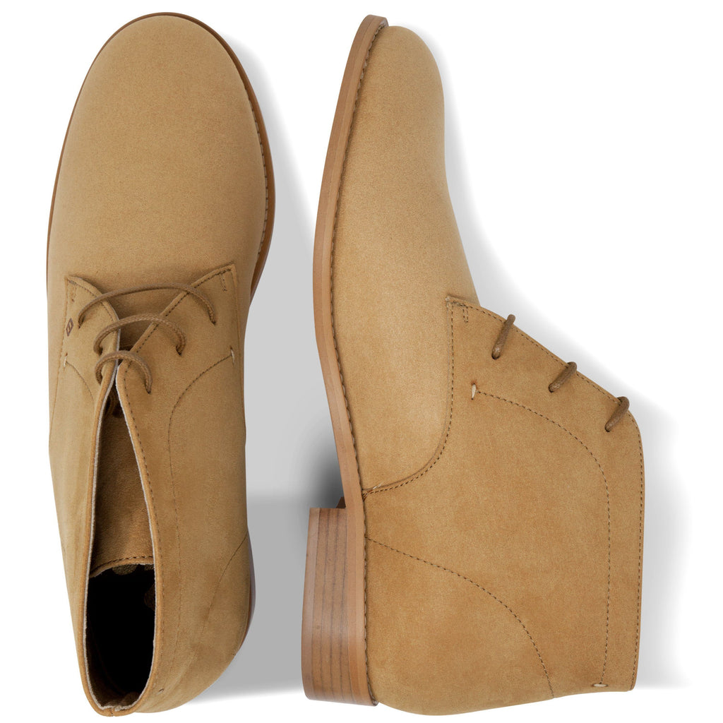 pair of vegan Desert Boots for men from above beige by FAIR at ALIVE Boutique