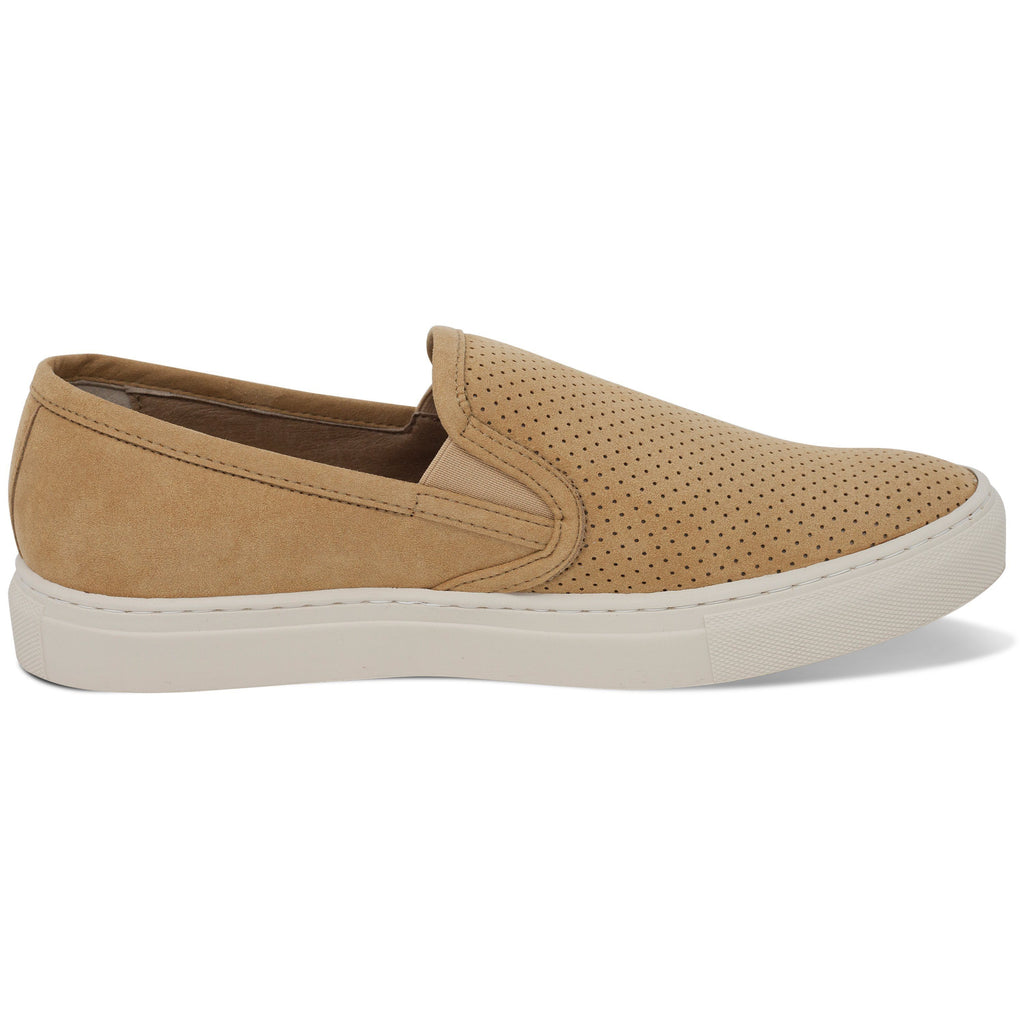 perforated vegan trainer for men slip-on beige from the right by FAIR at ALIVE Boutique