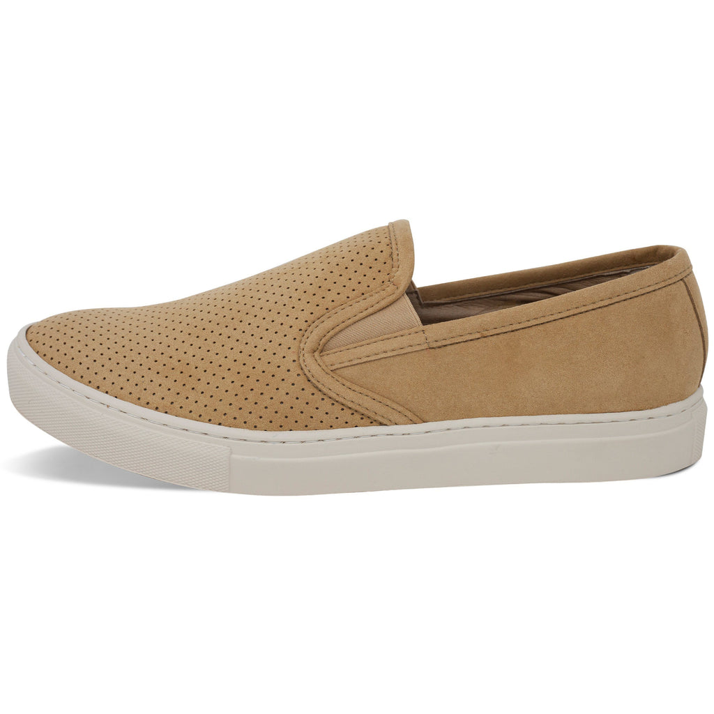 perforated vegan trainer for men slip-on beige from the left by FAIR at ALIVE Boutique