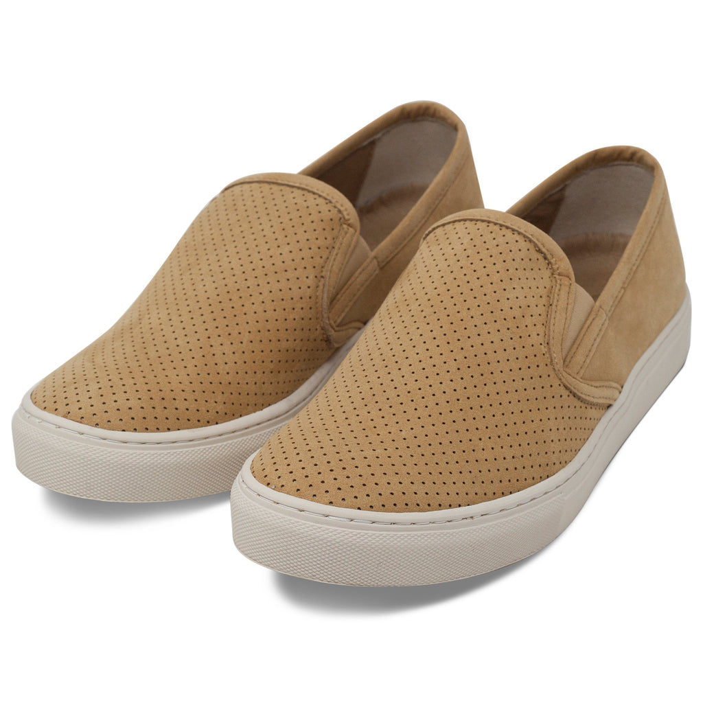 pair of perforated vegan trainer for men slip-on beige by FAIR at ALIVE Boutique