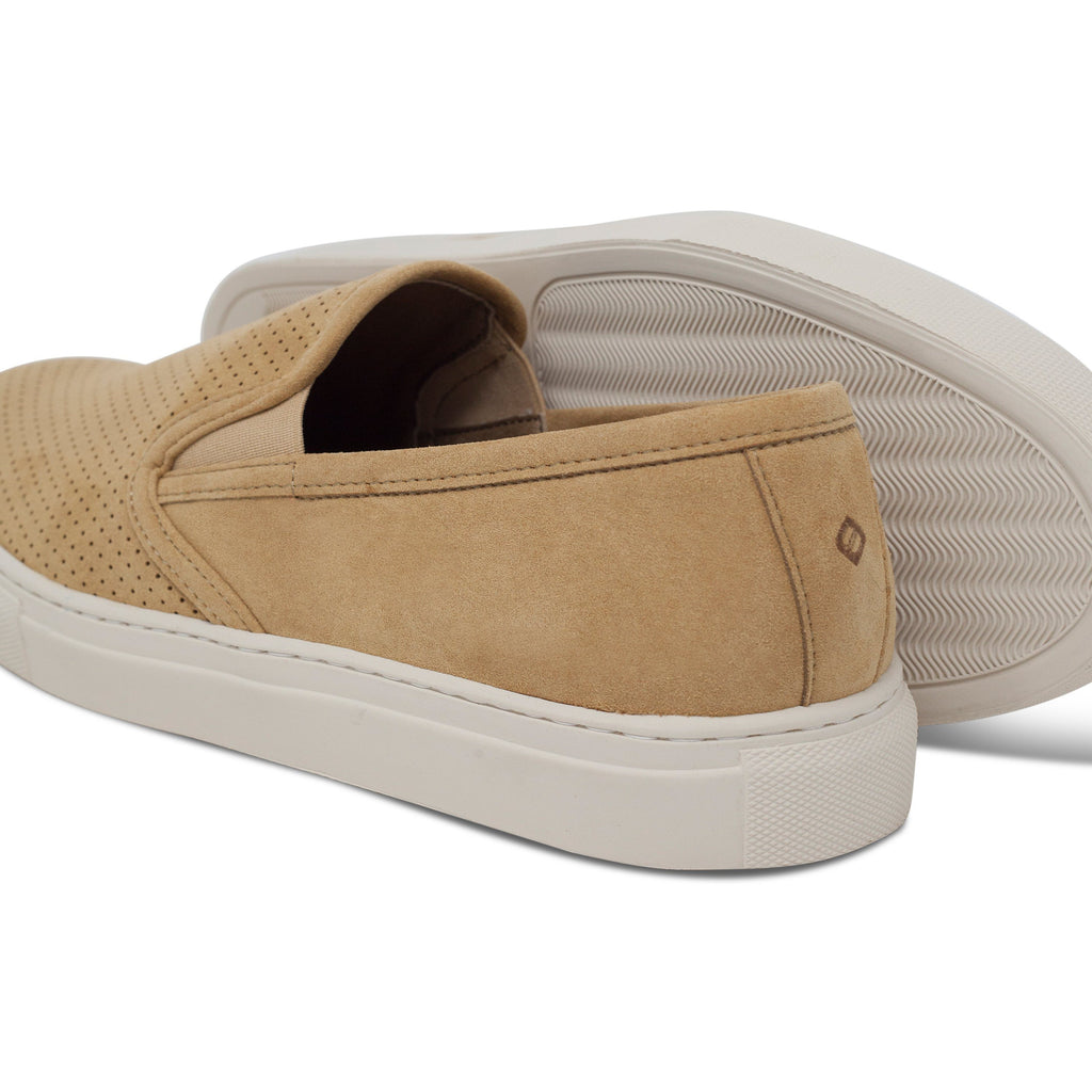 pair of perforated vegan trainers for men and their sole slip-on beige FAIR ALIVE