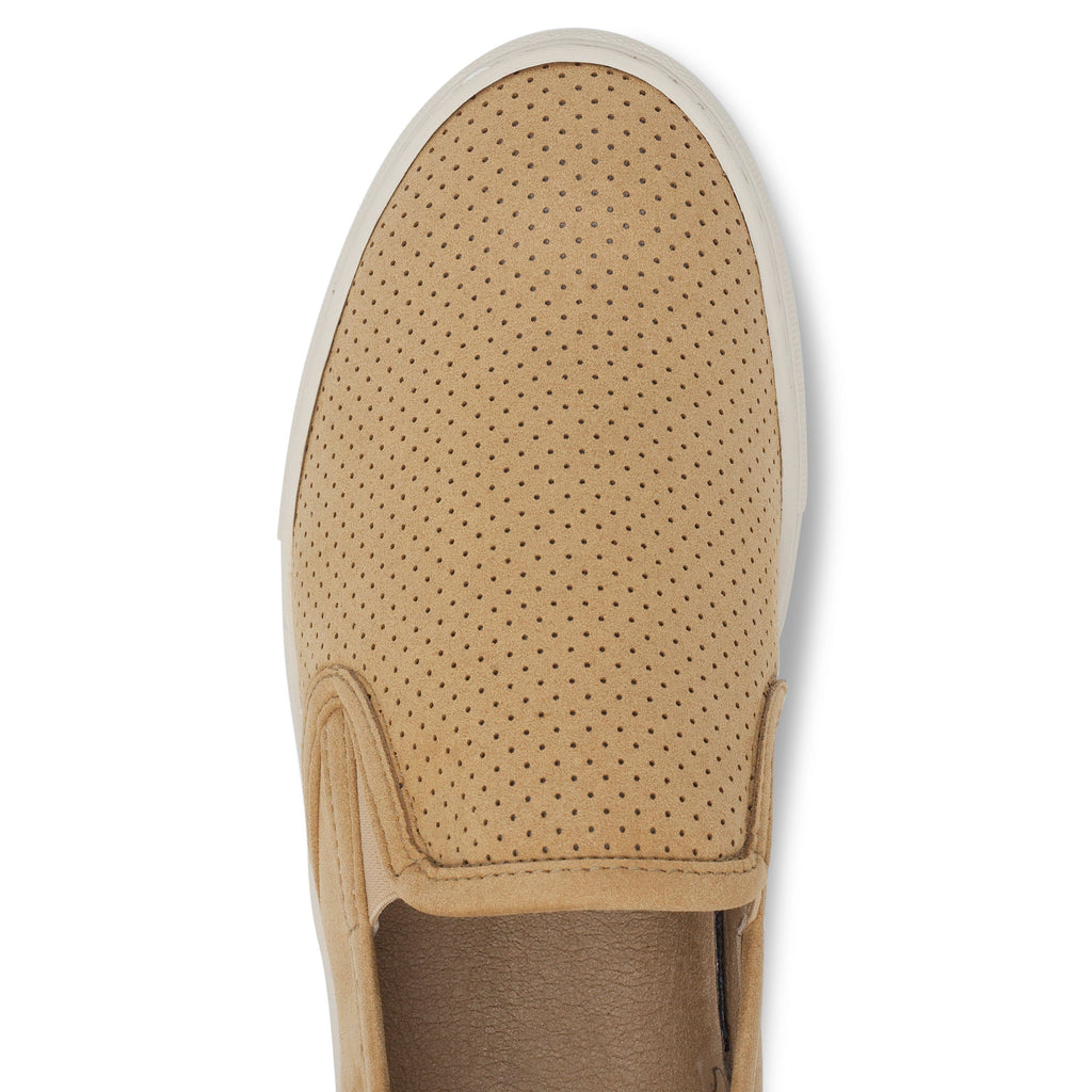 perforated vegan trainer for men slip-on beige from above by FAIR at ALIVE Boutique