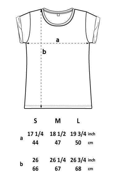 size guide vegan t-shirt at ALIVE Boutique