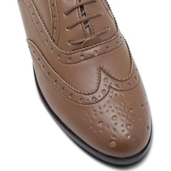 Vegan brogues toecap womens in Tan by Will's Vegan Shoes at ALIVE Boutique