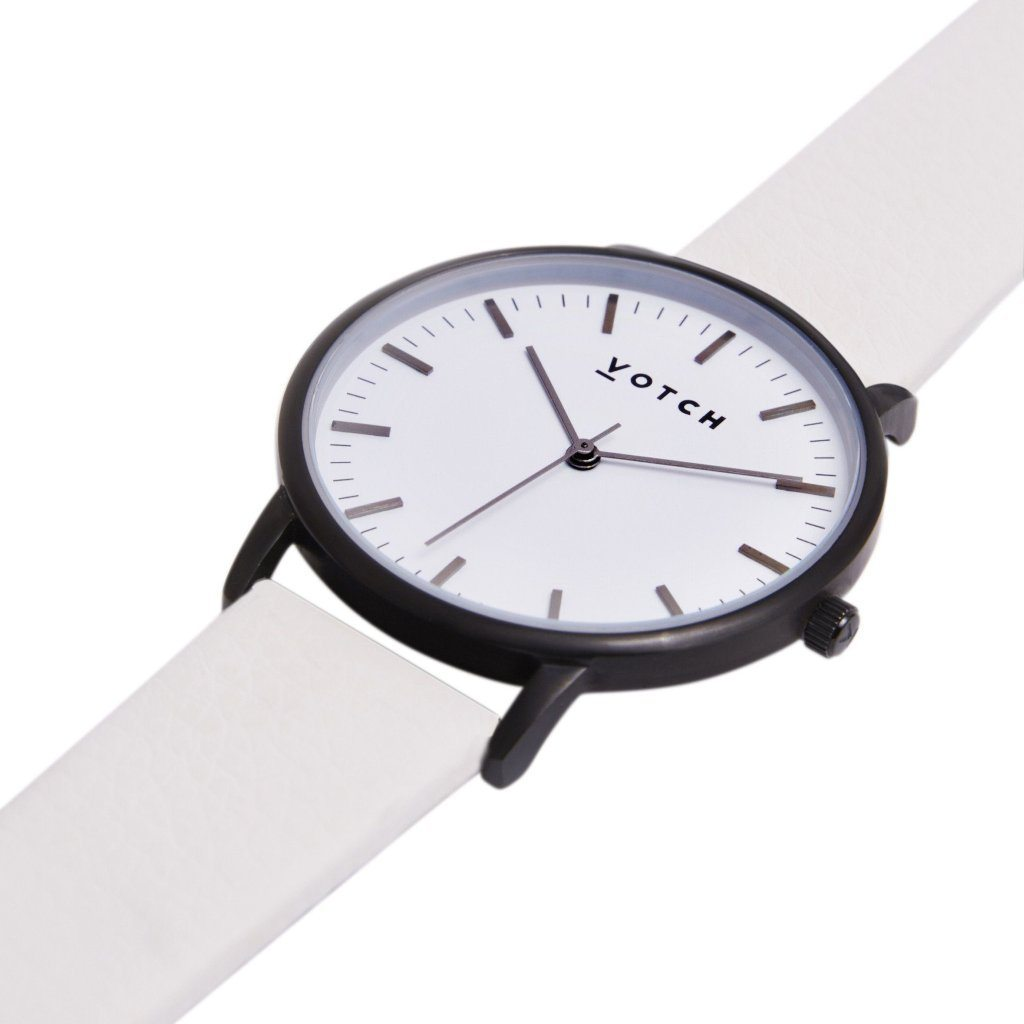 vegan leather watch by Votch Black and White Face Off White Strap New Collection at ALIVE Boutique