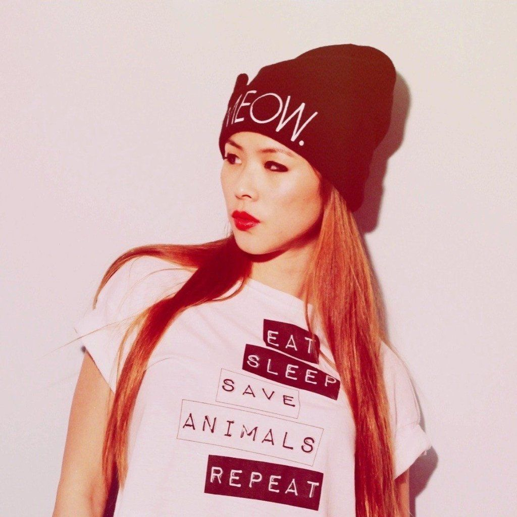 Vegan T-Shirt Eat, Sleep, Save Animals, Repeat girl with a hat ALIVE Boutique
