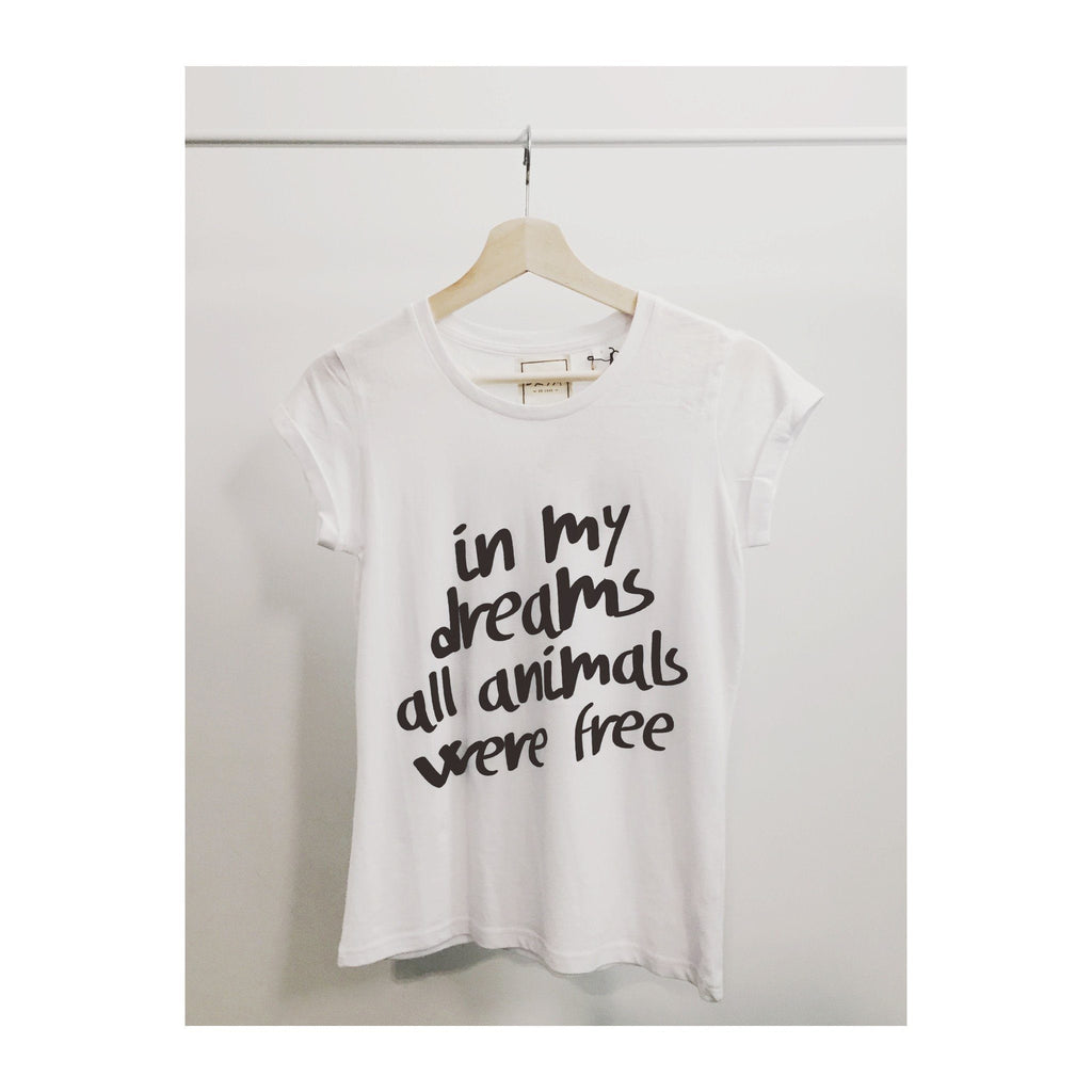 Vegan T-Shirt In My Dreams All Animals Were Free at ALIVE Boutique