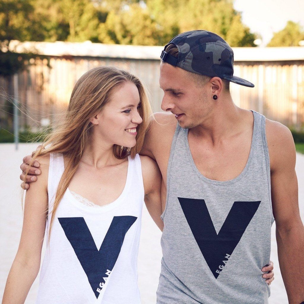 vegan Tank top white and grey girl and boy V For Vegan ALIVE Boutique