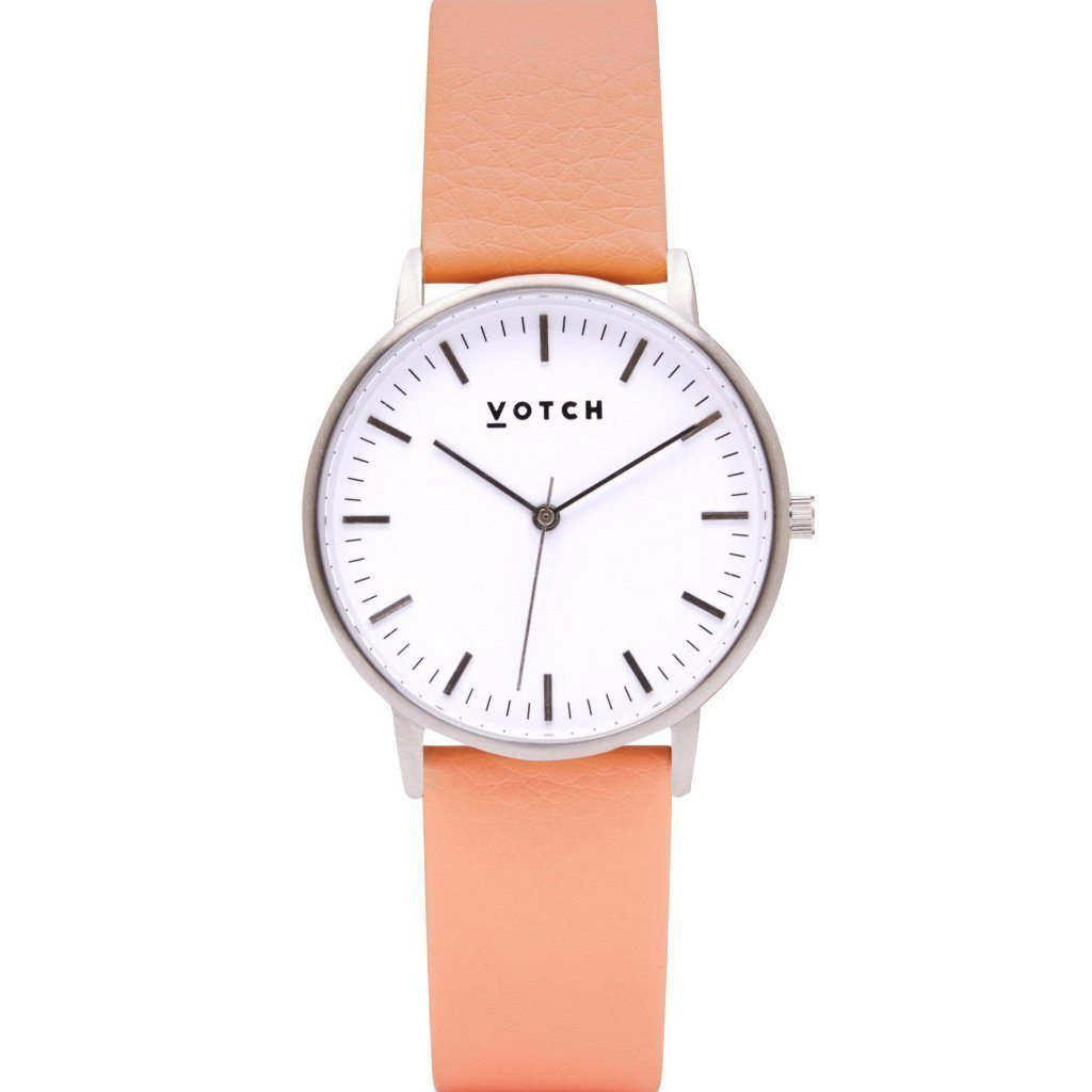vegan watch by Votch Silver Face with Coral Strap New Collection at ALIVE Boutique