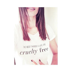 girl wearing a white vegan T-Shirt The Best Things In Life Are Cruelty-Free