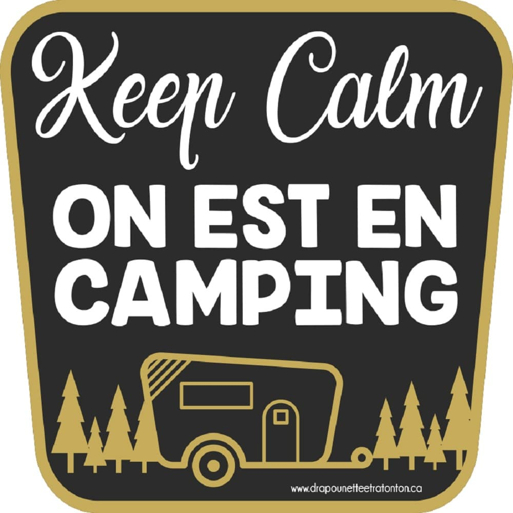 Autocollant noir 15 cm Keep calm on est en camping