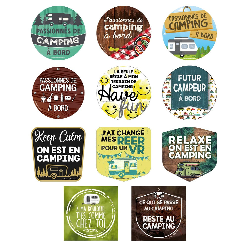 Autocollants de la collection de camping par Drapounette & Ratonton