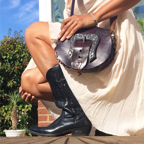 Vintage leather boots and bag