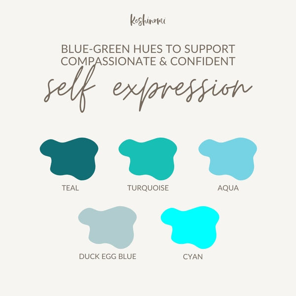 Blue-green colours for confident speaking