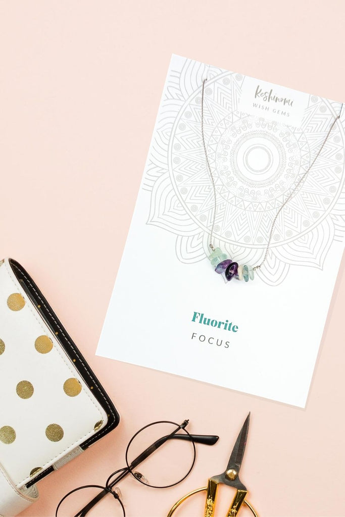 Fluorite floating gemstone necklace for focus while studying