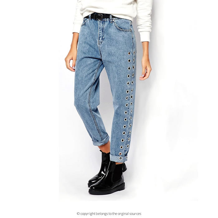 Eyelet mom jeans by Pull and Bear on ASOS