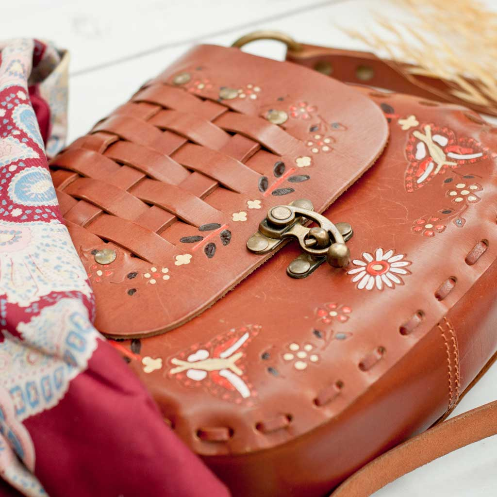 Vintage leather bag and scarf details from the Keshinomi Harvest Moon Collection