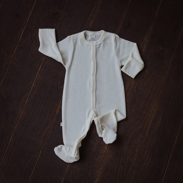 Natural Merino Wool Playsuit with Feet