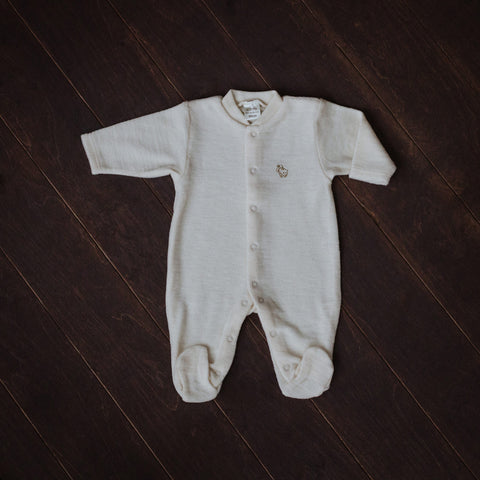 Natural Merino Wool Terry Playsuit with Feet