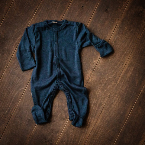 Dark Blue Merino Wool Playsuit with Feet