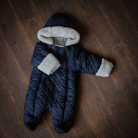 Dark Blue Hooded Snowsuit: merino lined with integrated mittens.