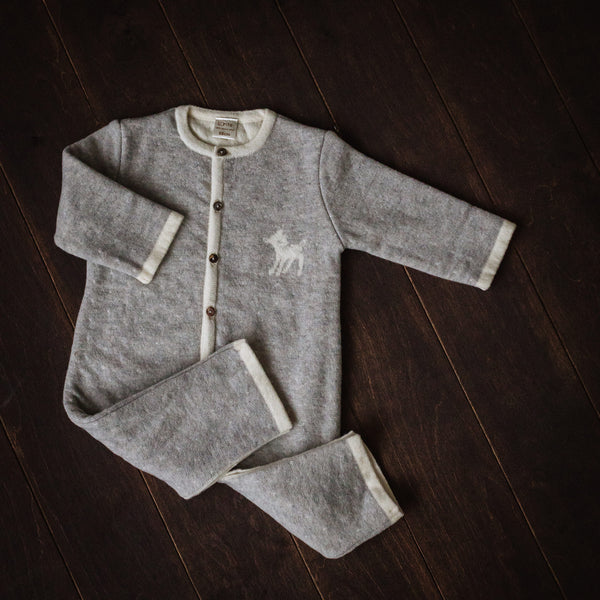 Superfine Grey Merino Playsuit with Buttons