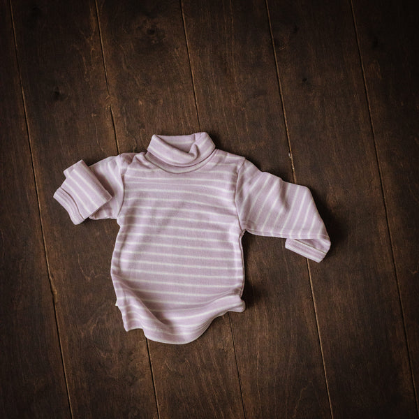 Violet Striped Merino Roll-Neck Top