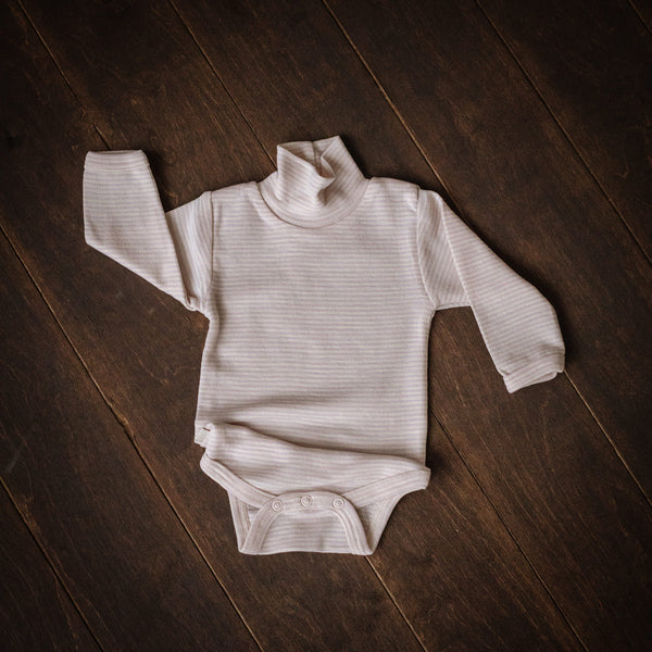 Violet Striped Merino Roll-Neck Bodysuit