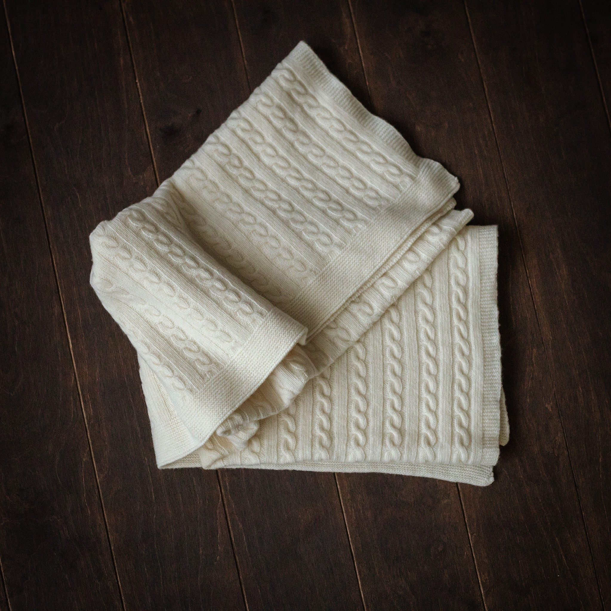 Natural Merino Knitted Blanket