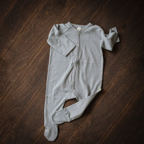 Grey Merino Wool Playsuit with Feet