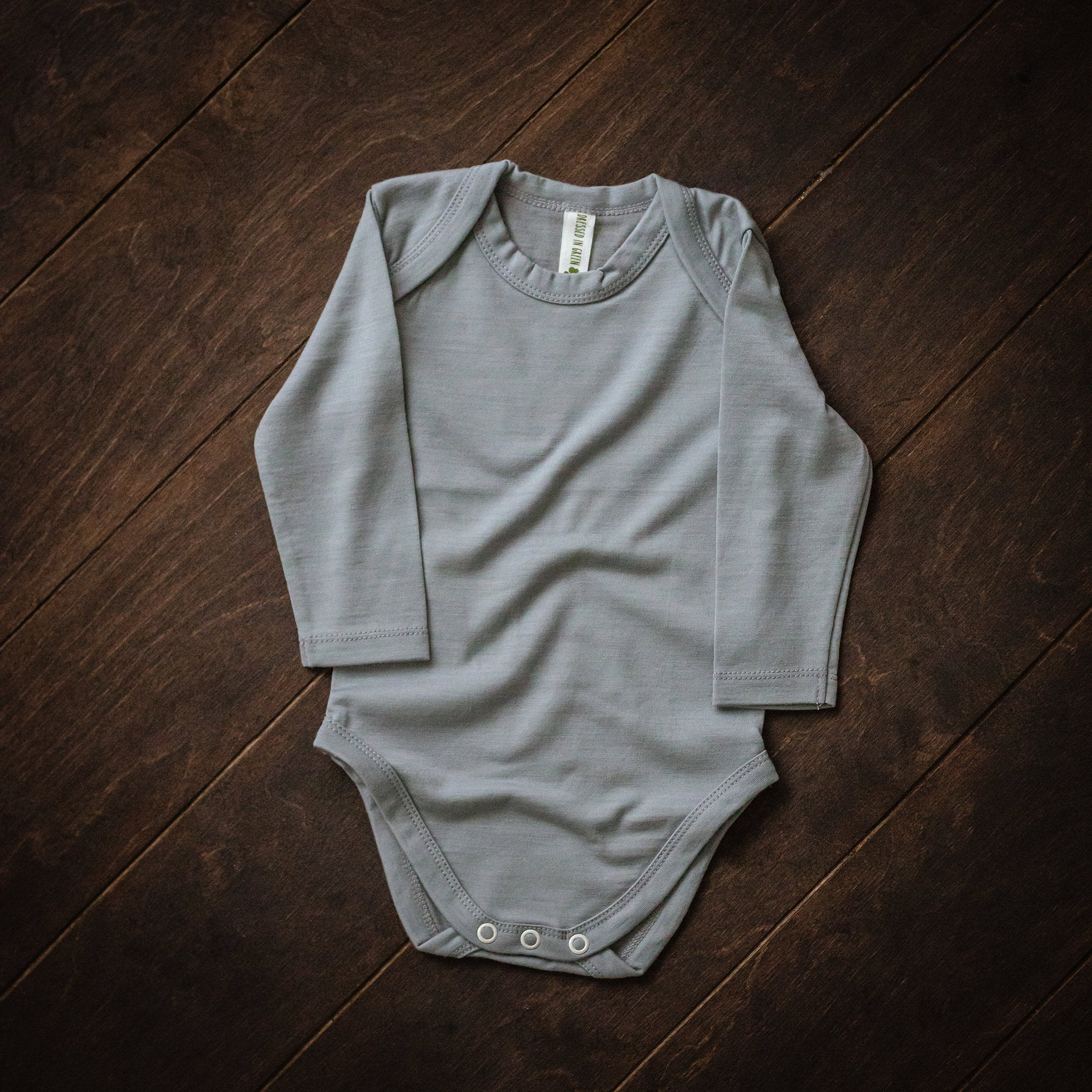Grey Merino Wool Envelope-Neck Bodysuit