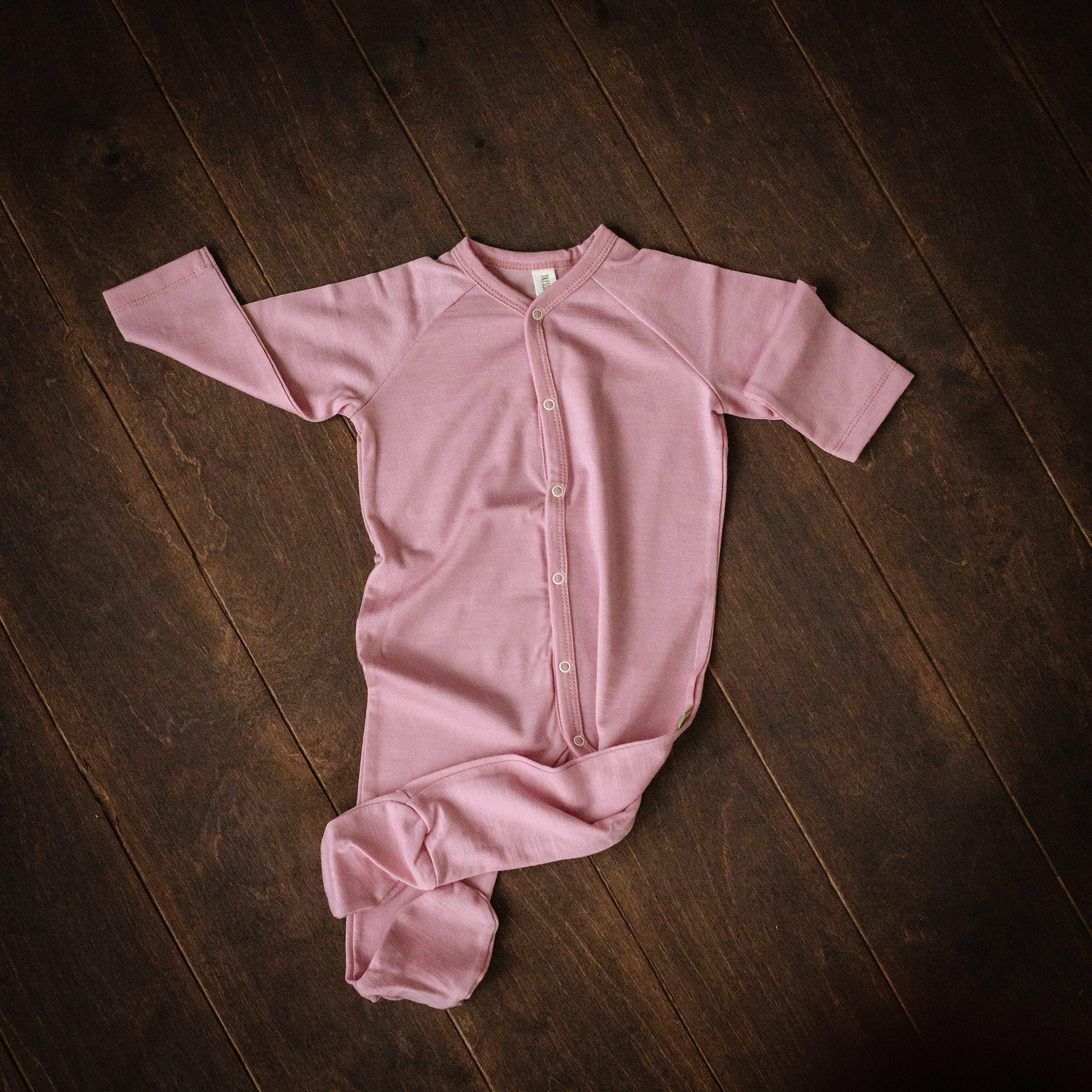 Pink Merino Wool Playsuit with Feet