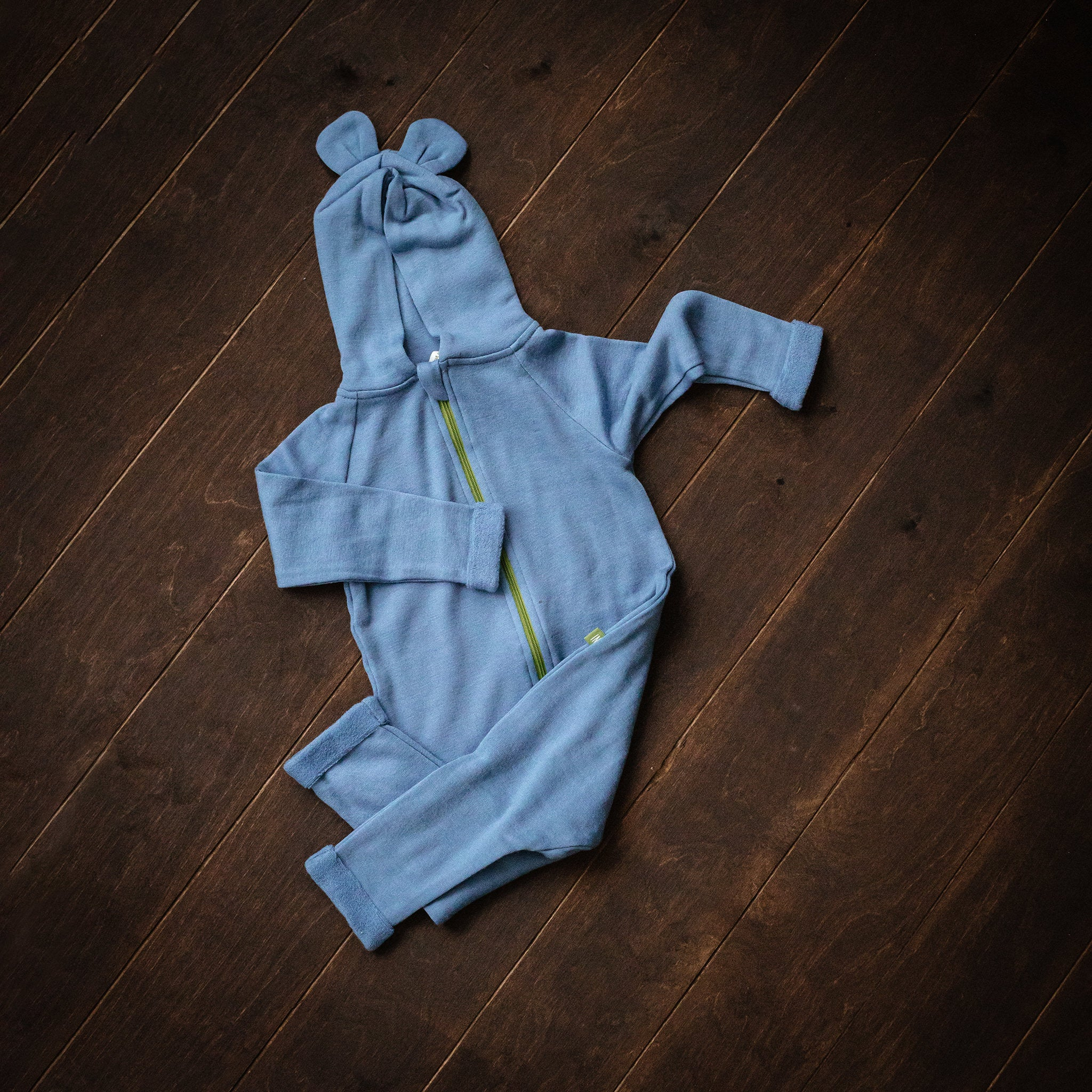 Blue Hooded Merino Wool Terry Playsuit