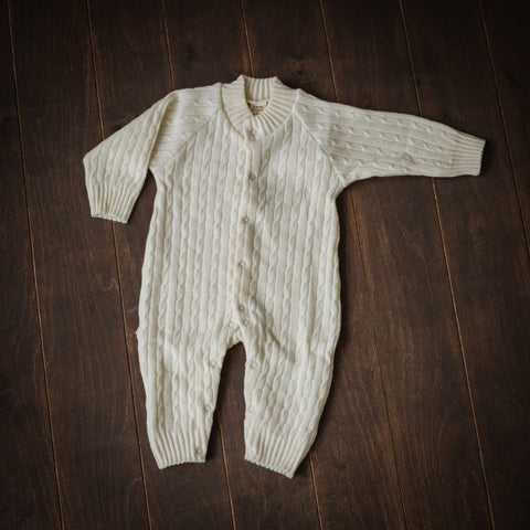 Natural Superfine Merino Knitted Playsuit
