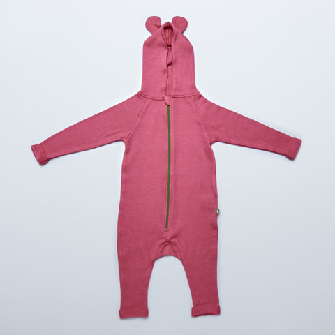 Pink Hooded Merino Wool Terry Playsuit