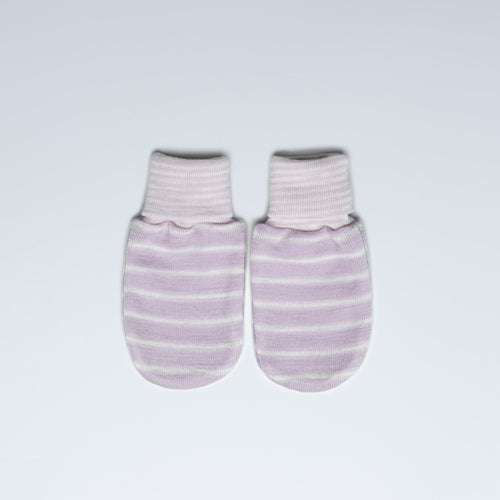 Violet Striped Merino Mittens