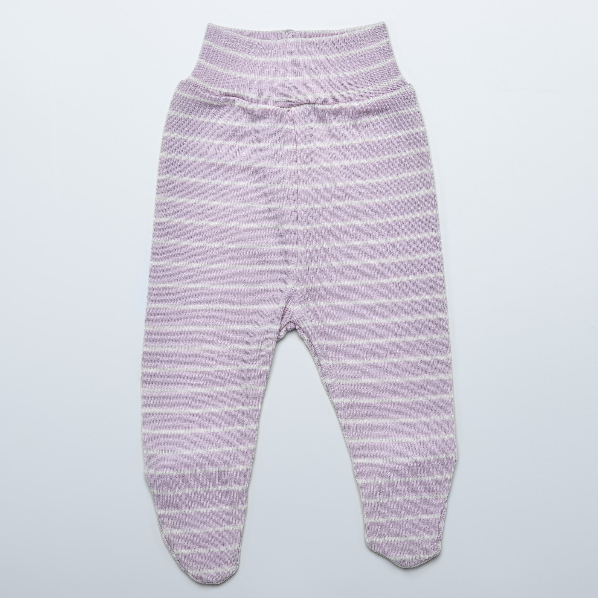 Violet Striped Merino Pants with Feet