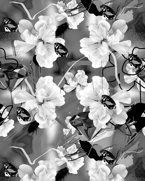 Jimi Crayon - Wallpaper - Flowers - Black / White
