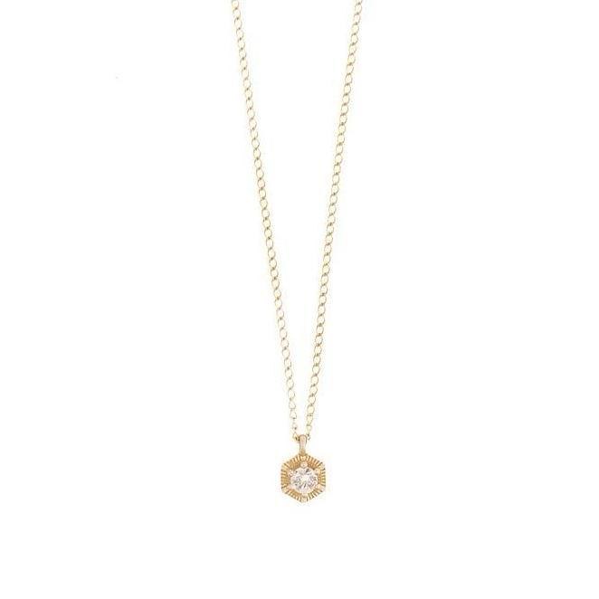 rose necklace - 14k & diamonds