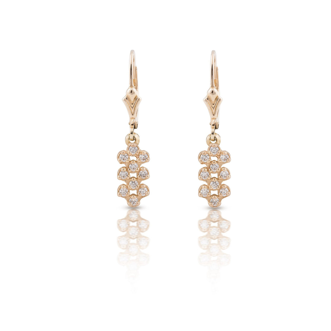 kim - clear stones dangle bee hive earring
