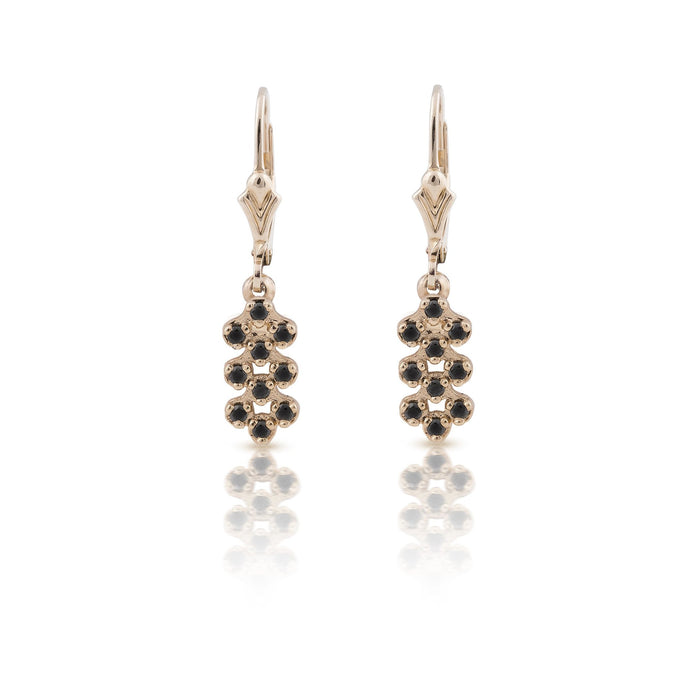 kim - black stones dangle bee hive earring